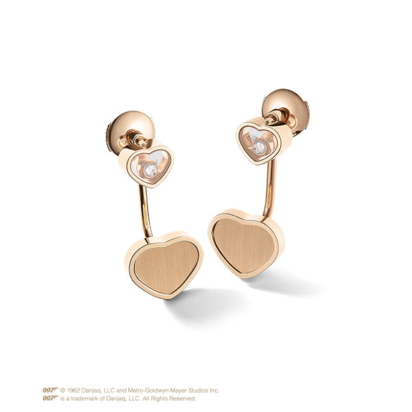 Happy Hearts Golden Hearts earrings in rose gold and diamonds