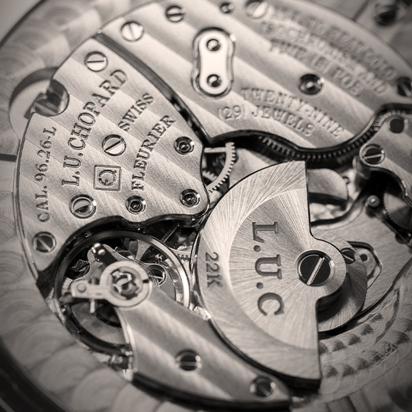 Close-up on the mechanism of a Chopard LUC movement.