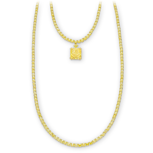 A gold necklace set with yellow diamonds