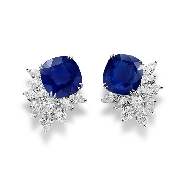 A sumptuous pair of sapphire and diamond earrings.