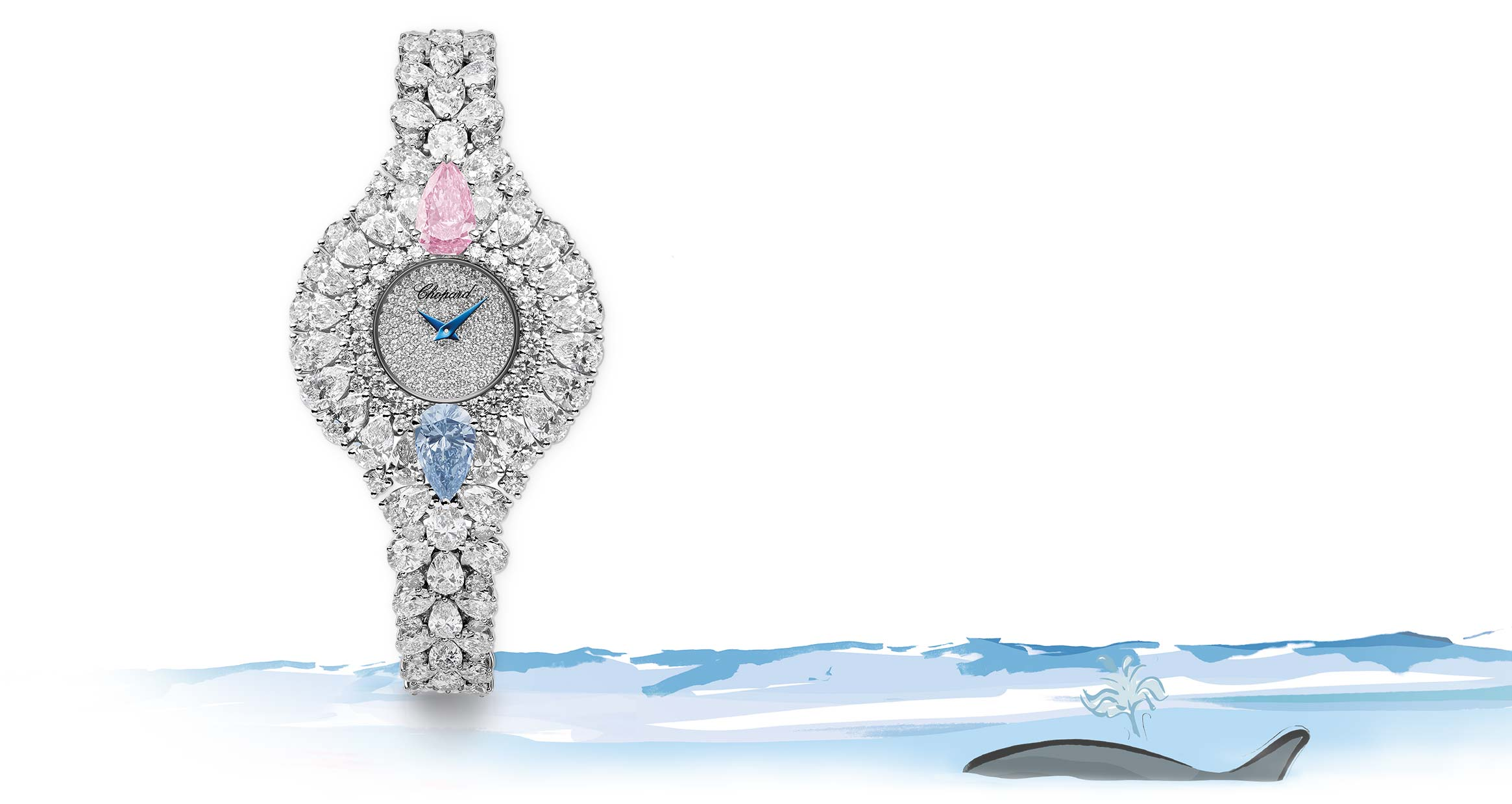 A fascinating Lady's watch set with both a pink and a blue diamond highlighted by white diamonds.