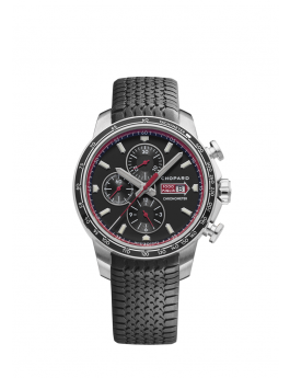 front of stainless steel watch with red details on black dial with chronometer on black rubber strap
