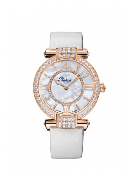 rose gold watch with a diamond-set case and white mother-of-pearl dial.